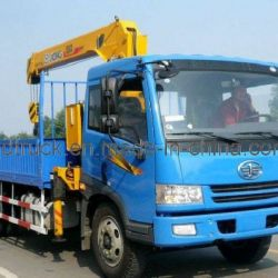 FAW 8-12 Tons cargo truck with crane