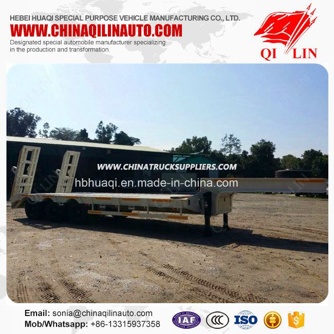 12 Meters Tri-Axle Low Flatbed Semi Trailer for Made in China