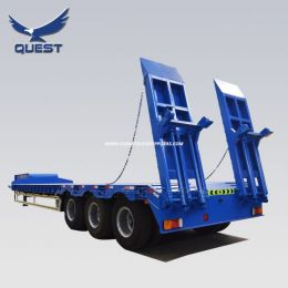 3 Axles Low Bed Trailer/80tons Low Loader Trailers with Ladders