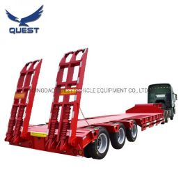 60-80t Low Loader Truck Lowbed Semi-Trailer Low Bed Cargo Trailer