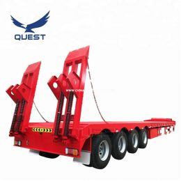 Four Axle 90t Heavy Equipment Transport Truck Lowbed Semi Trailer