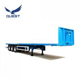 Tri-Axle Flatbed 40FT Front Wall High Bed Tractor Truck Trailer