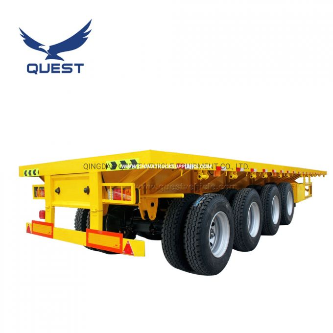 80ton 70ton 4 Axle High Bed Flatbed Container Semi Trailer