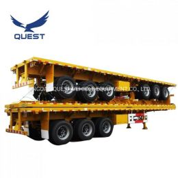 Quest 3axles 40FT Platform Truck Trailer Flatbed Container Trailer