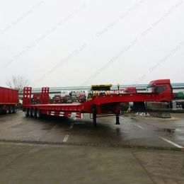 80tons 4 Axles Low Flatbed Semi Trailer Truck
