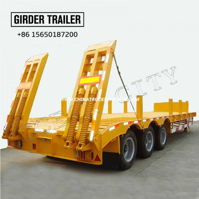 3 axles chassis lowbed trailer